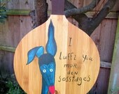 Greyhound galgo large hand painted decorative chopping board silly old greyhound on wood OOAK
