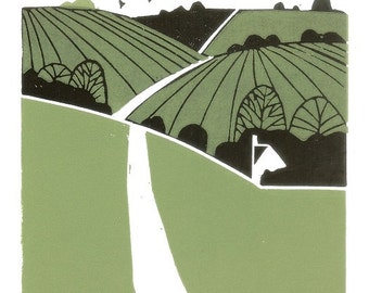 Summer Fields Linocut - Green Landscape - Limited Edition of Only 12 - Printmaking Art - Hand Pulled Original Print by Giuliana Lazzerini.