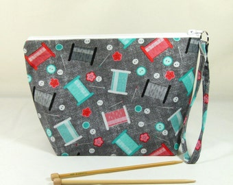 Knitting Project Bag - Medium Zipper Wedge Bag in Sewing Fabric Fabric with Red and Aqua Cotton Lining