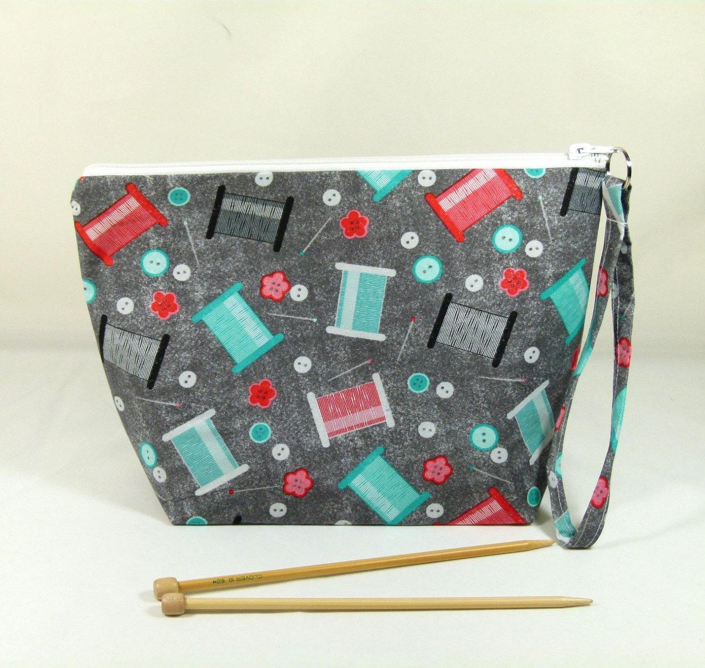 Zippered Knitting Bag : Knitting project bag medium zipper wedge in sewing