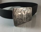 Female Reproductive System Belt Buckle - Etched Stainless Steel - Handmade