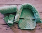 Carseat Canopy Headrest Arm Cushion and Strap Covers for Infant Carrier..You Choose Minky Color and Cotton