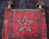 Tuareg Decorated Painted Leather bag with Fringes