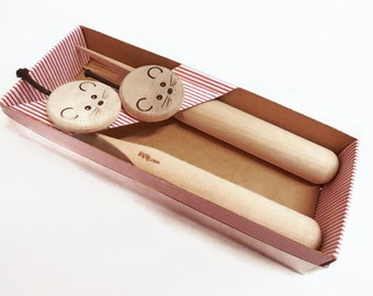 Aarikka Hardwood Cheese Mice/Cheese Utensil Set; Mint in Box,Holiday Party Ware, Wine and Cheese Party, Hostess Gift,