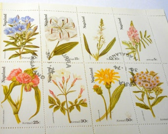 Cancelled Block of Flower Stamps ... 1974 ... Vintage ... Multi - Color Stamps.   Top 4 stamps are postage.  Bottom 4 stamps are airmail