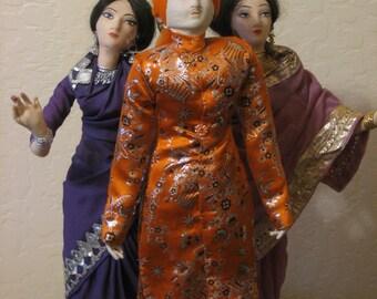 Big Beautiful 20 in Tall Vintage Bollywood Sultan Dancer Dolls