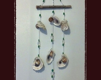 Sea Shell Wind Chime Suncatcher Wall Hanging Gulf Coast Oysters w/Crystals, Beach/Coastal/Nautical Decor, Patio/Yard/Garden Decor