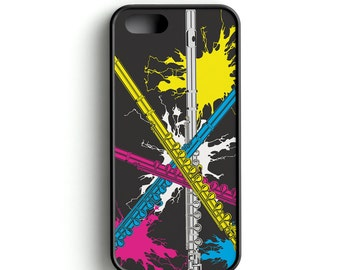 Cell Phone Case, Flute Cell Phone Case, Music, Flutes, Music Gift, Music design Cell Phone Case with Neon Flutes