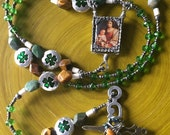 St. Patrick Rosary, Peridot with Madonna and Child Center, Wire wrapped Cross