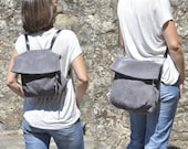 SUMMER - Grey leather convertible backpack - crossbody bag - ELI model