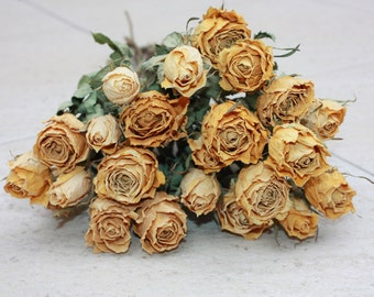 20 Natural Dry Roses - Natural Color - Roses for Weddings-Luck-Love-Romance and all other Matters of the Heart- Yellow Roses - Dried Flowers