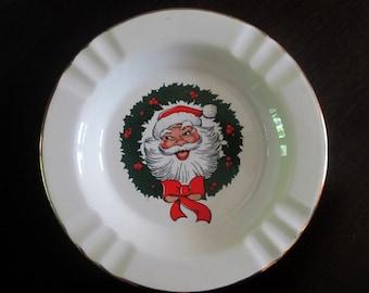 1960s Santa Claus Ashtray Ceramic Dish 7.5 Inch Plate Crest O Gold 22K Trim Christmas Home Decor