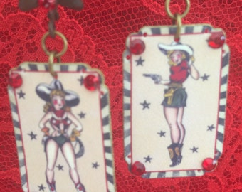 Wild West  - Cowgirl TATTOO Art PINUP Girls - Embellished  Painted Plastic EARRINGS - Two Sided