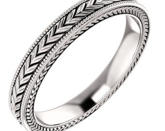 Enterity Wheat Design Bands, Wedding Band in 14k White Gold ST62693