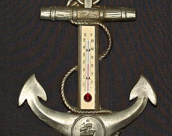 Vintage Anchor Thermometer with Sailing Ship made in Denmark