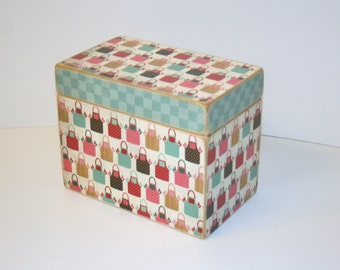 Recipe Box - Colorful Aprons and Aqua Print Recipe Box, Handmade 4x6 Wooden Recipe Box, Aqua Kitchen, Retro Recipe Box, Baking Recipe Box