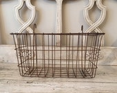 Vintage Rustic Wire Storage Basket - Rusty, Industrial Basket with Hooks for Hanging