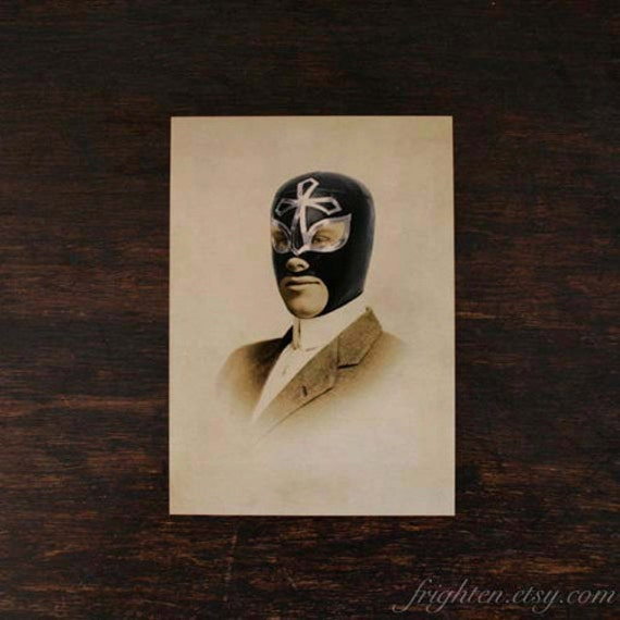 Lucha Libre Art, Luchador, 5x7 Print, Mask Art, Gift for Men, Small Wall Art, Masculine Gift, Wrestling Art, Collage Print