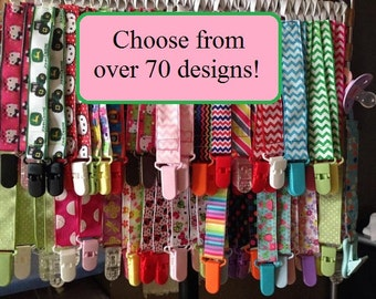 Nuk clips/pacifier clips/binki clip/soothie/infant pacifier clips Stripes Dots Animals Chevron Characters
