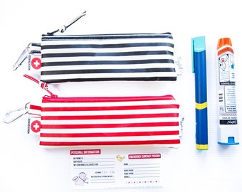 Single EpiPen Case / Insulin Pen Case with Medical ID Card - Stripe Oilcloth (Vinyl-Coated) -  Red or Black