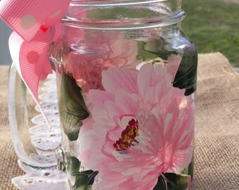 Hand Painted Peony Mason Jar, Peony Mason Jar drinking glass, Personalized Mason jar