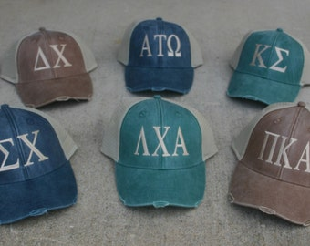 Fraternity worn trucker baseball cap with embroidered greek letters