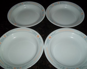 4 Corelle Apricot Grove Rimmed Cereal Bowls