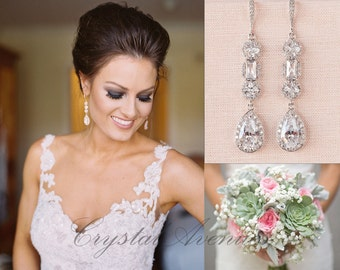Crystal Bridal Earrings, Crystal Wedding earrings, Long earrings, Wedding Jewelry, Rose Gold, Bridal Jewelry, Julienne Crystal Earrings