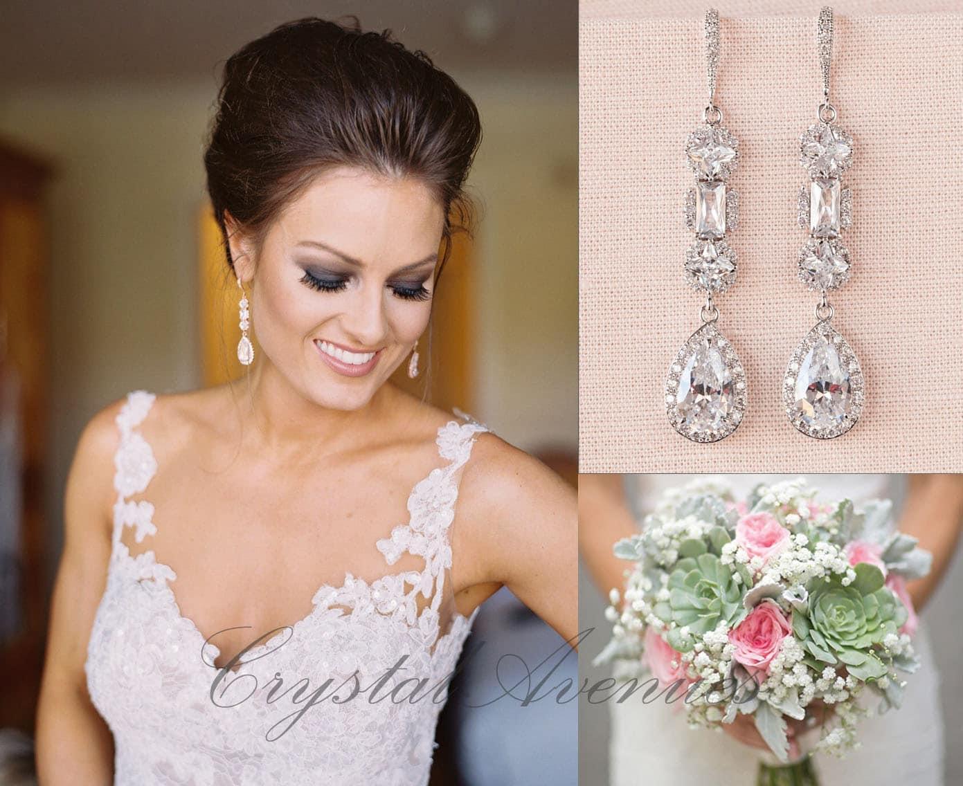 Crystal bridal earrings crystal wedding earrings long for Bracelet for wedding dress
