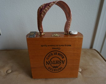 Fancy Wood Cigar Box Purse with Ribbon handle and fabric lining
