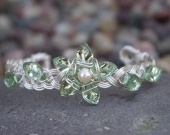 Elven Silver Leaf Vine Cuff