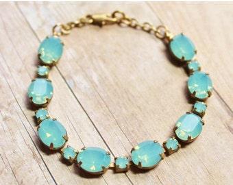 SALE Pacific Opal Swarovski Bracelet,Swarovski Rhinestone Bracelet,Vintage Tennis Bracelet,RARE Color,Mint Blue Opal Stones,Bridesmaids Jewe