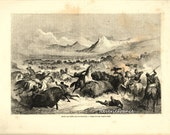 Antique Engraving Buffalo Hunting by the Delawares, Native Americans USA from 1860 Gustave Doré