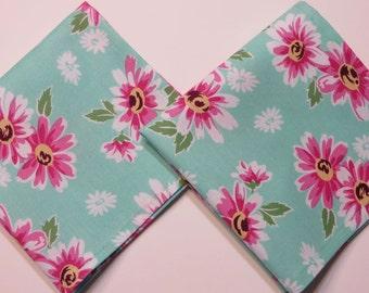 Handkerchiefs, Mint and pink floral hankies, Set of 2, cotton ladies handkerchiefs, Handmade in the USA