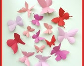 3D Wall Butterflies - 25 Salmon, Carnation, Lipstick, Pastel Pink Butterfly Silhouettes, Nursery, Wedding