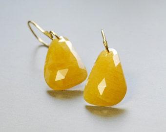 Gold Sapphire 14k Gold Dangle Earrings by Agusha. Rose Cut Sapphire Solid Gold Drop Earrings.  Gemstone Dangle. 14k Gold Earrings