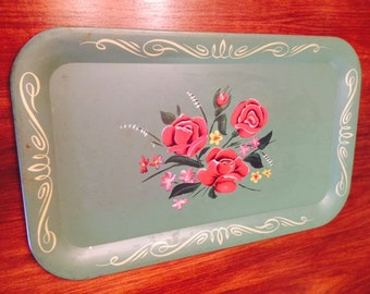 Vintage Floral Painted Aluminum Serving Tray Tole Bauernmalerei Style German Roses Midcentury 1950s