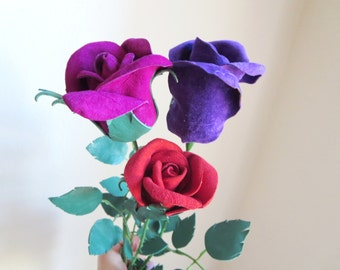 Red,Purple , magenta leather rose bud bouquet -sexy long Stem leather rose -3rd  Anniversary Gift