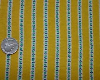 "Nice Vintage Full Feedsack,Fabric, Yellow with Tiny Tulip Stripe, 37 1/2 x 44"""