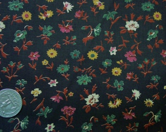 """Nice Vintage Cotton Fabric, Dark Brown with Small Floral Print 44"""" Wide, 4 Yds. By the Yard"""
