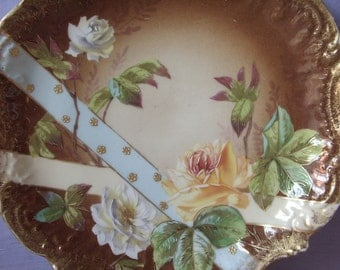 Antique 1890's LS & S Limoges France Plate, Hand painted plate, French porcelain plate, Victorian plate, White roses yellow rose plate decor