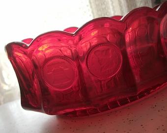 Vintage Ruby Red Glass Bowl, Fostoria Glass bowl, Oval glass bowl, Coin glass bowl, Retro decor, Mid Century modern decor, Liberty bell