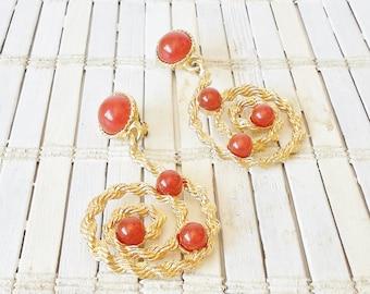 Avon Golden Rope Dangle Earrings, Clip On, Vintage, Faux Carnelian Agate, Swirl Motif, Long, Statement earrings, Bohemian earrings