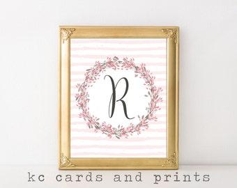 Letter R Monogram Printable - Letter R Wall Art Print - Printable Monogram Art