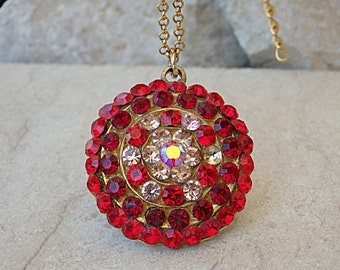 Red Pendant. Red Rhinestone Pendant Necklace. Ruby Red Necklace. Red Champagne Necklace for Women. Real Swarovski Pendant Gift For Christmas