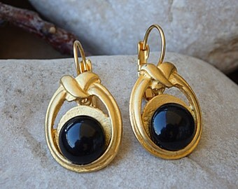 Gold Onyx earrings, Black gemstone earrings, Onyx drop earrings, Gold drop earrings, Evening gold earrings, Gemstone jewelry, Black earrings