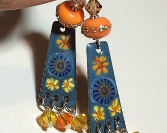 Denim enameled earrings, orange lampwork earrings, enameled copper jewelry