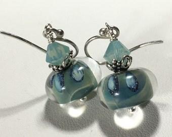 Handmade lampwork jewelry boro bracelet SRA blue opal lampwork & sterling bracelet