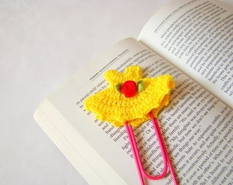 Crochet dress bookmark office gift ideas crochet heart small gift ideas small birthday gift ideas teacher gift ideas paper clip yellow gift