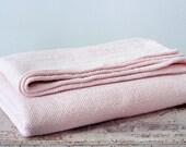 Vintage Hand Woven Duvet Bedspread Cover Blanket - Light Pink
